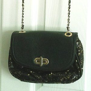 Chico's Black and Gold Sequenced Crossbody Bag